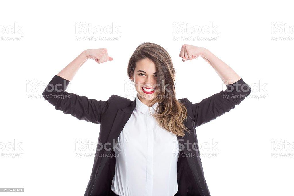 Empresaria flexionar los músculos - foto de stock