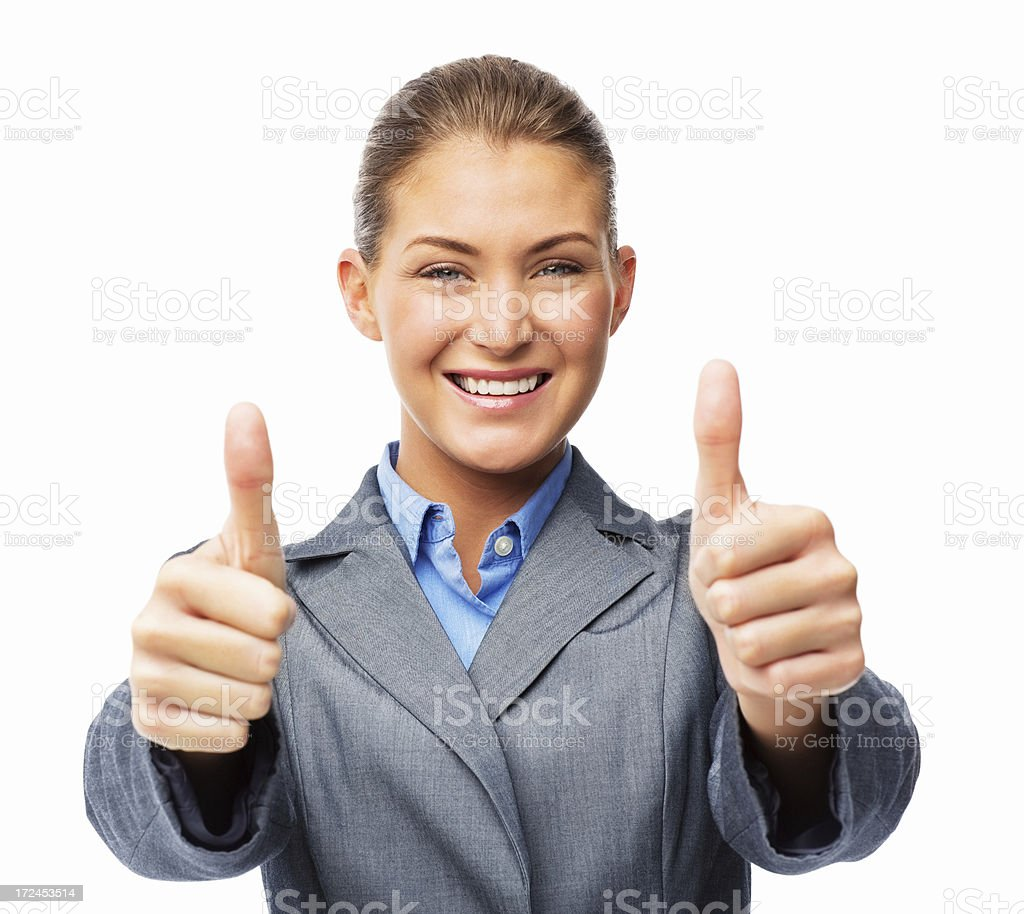 Businesswoman Gesturing Thumbs Up - Isolated royalty-free stock photo