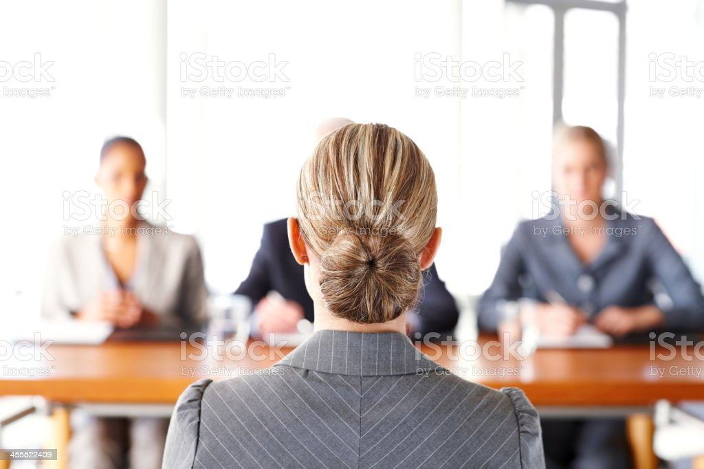 Businesswoman Getting Interviewed stock photo