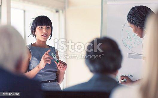 istock Businesswoman giving a presentation 466423948