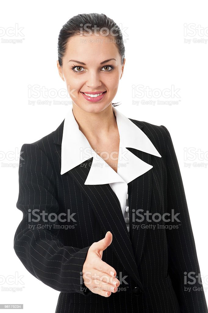 Businesswoman giving hand for handshake, isolated on white royalty-free stock photo