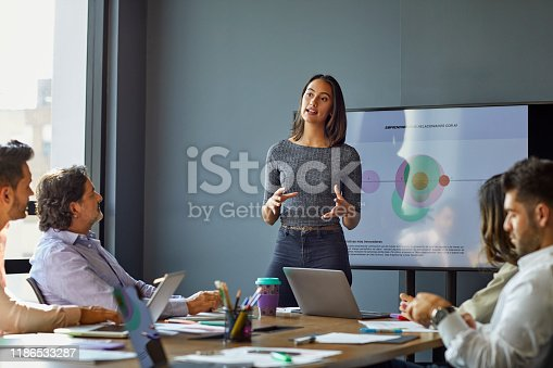 1031394390 istock photo Businesswoman giving presentation in meeting 1186533287