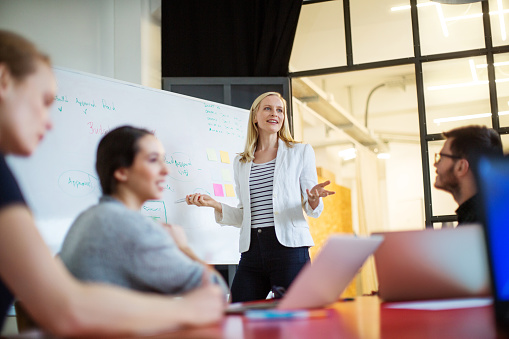istock Businesswoman giving presentation on future plans to colleagues 576902490