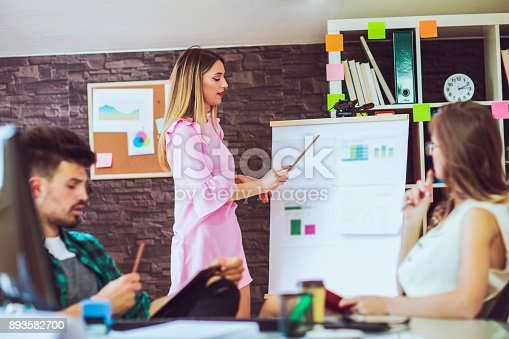 576902490 istock photo Businesswoman giving presentation on future plans to colleagues 893582700