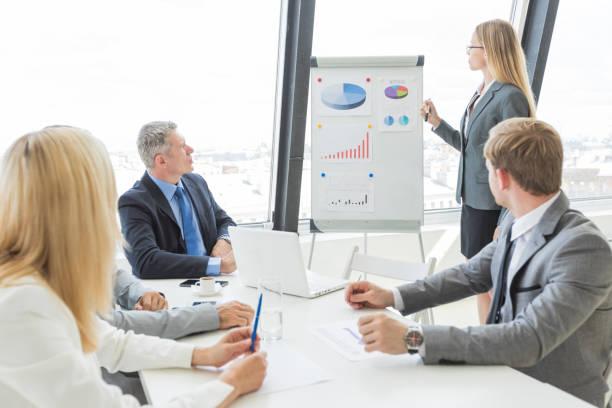 Businesswoman giving presentation stock photo