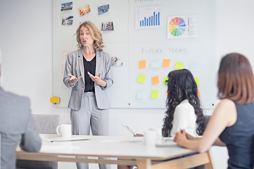 Confident businesswoman discussing future ideas with colleagues in board room. Female professional is gesturing while giving presentation in office. Executives are in businesswear at workplace.
