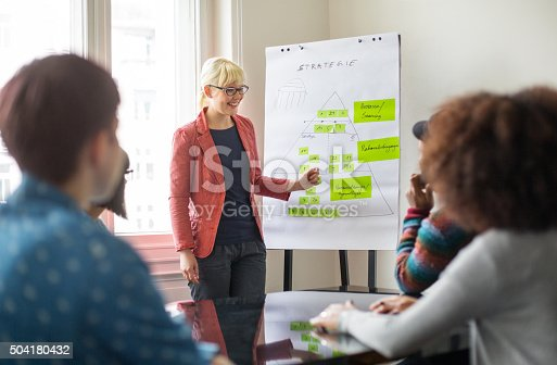 istock Businesswoman giving presentation to her colleagues 504180432