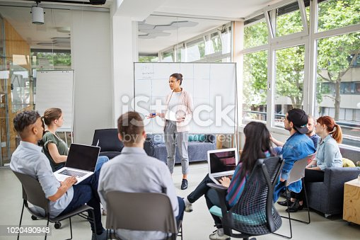 Businesswoman giving presentation to team sitting in conference room. Female business manager explaining new business strategies to team.