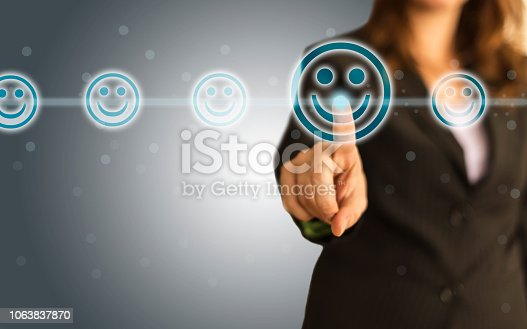 Businesswoman giving rating with happy icon