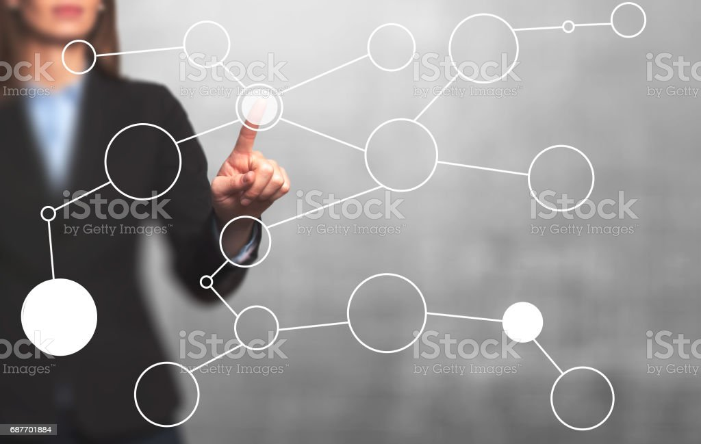 businesswoman hand drawing blank flow chart on new modern computer as concept stock photo