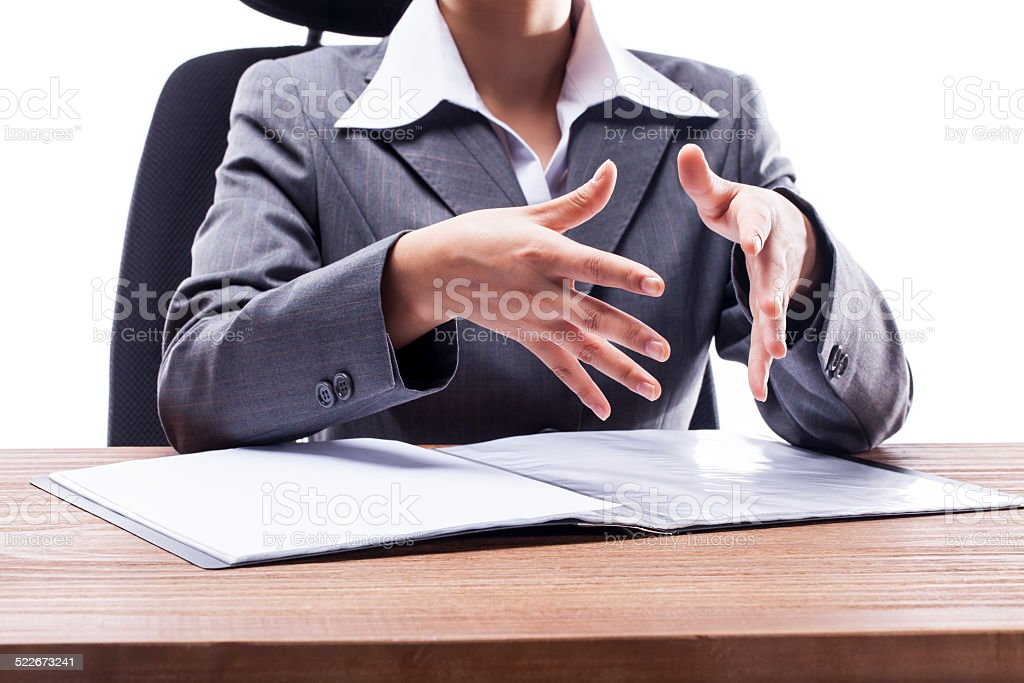 Businesswoman Hand Gesturing in Meeting stock photo