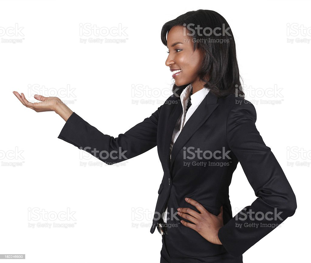 Businesswoman hand out showing royalty-free stock photo