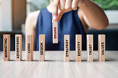 istock Businesswoman hand placing or pulling wooden Dominoes with BRAND text. and Marketing, Advertising, Logo, Design, Strategy, Identity, Trust and Values. Product development concept 1150734727