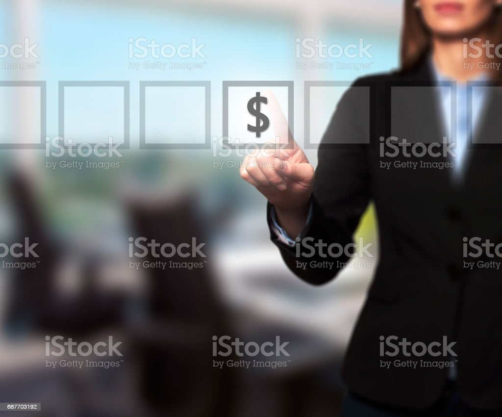 Businesswoman hand press dollar icon button on visual screen stock photo