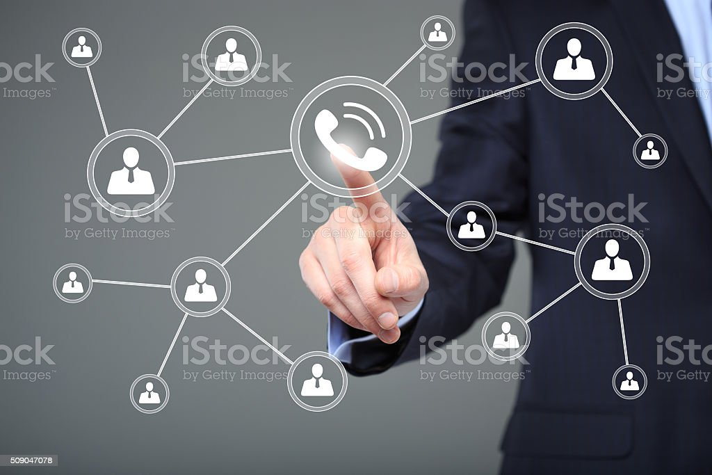 Businesswoman hand press web telephone button sign. business, technology and stock photo