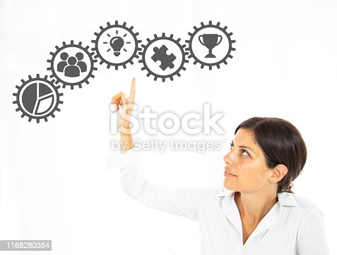 businesswoman hand pressing a touch screen button. wheels as symbols of business woman, Business concept