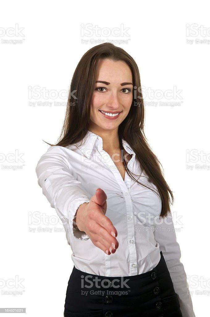 businesswoman handshake stock photo