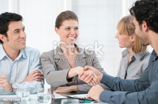 istock Businesswoman handshake 482761359