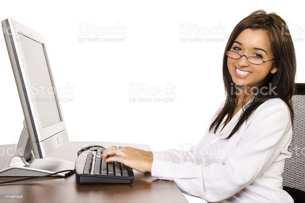 Businesswoman Happily Working royalty-free stock photo