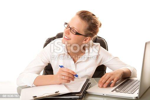 istock Businesswoman hard at work 681636782