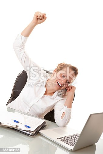 istock Businesswoman hard at work 683489458