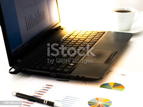 864278180istockphoto Businesswoman having coffee while using laptop at desk 1062690426