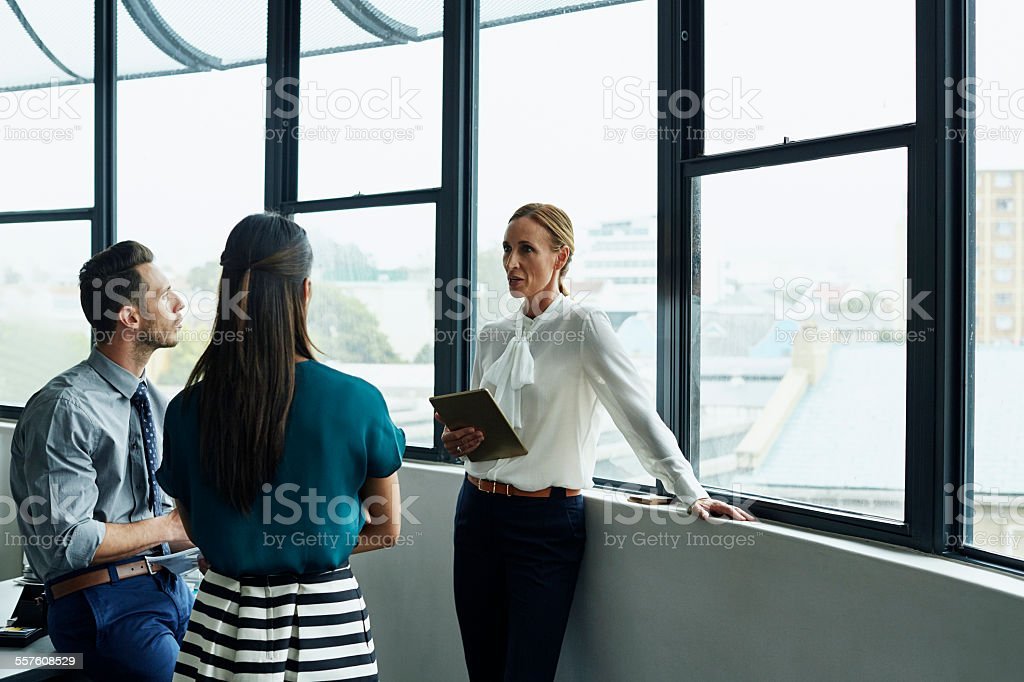 Businesswoman having discussion with team stock photo