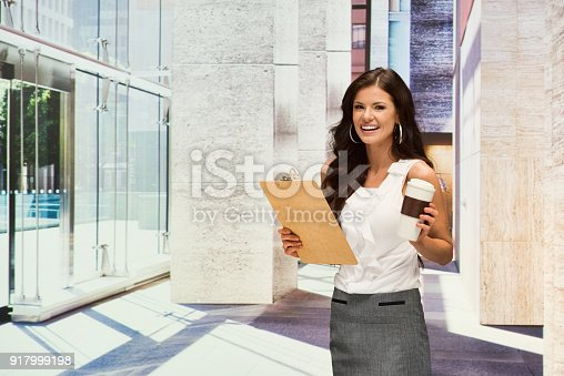 istock Businesswoman hold clipboard 917999198