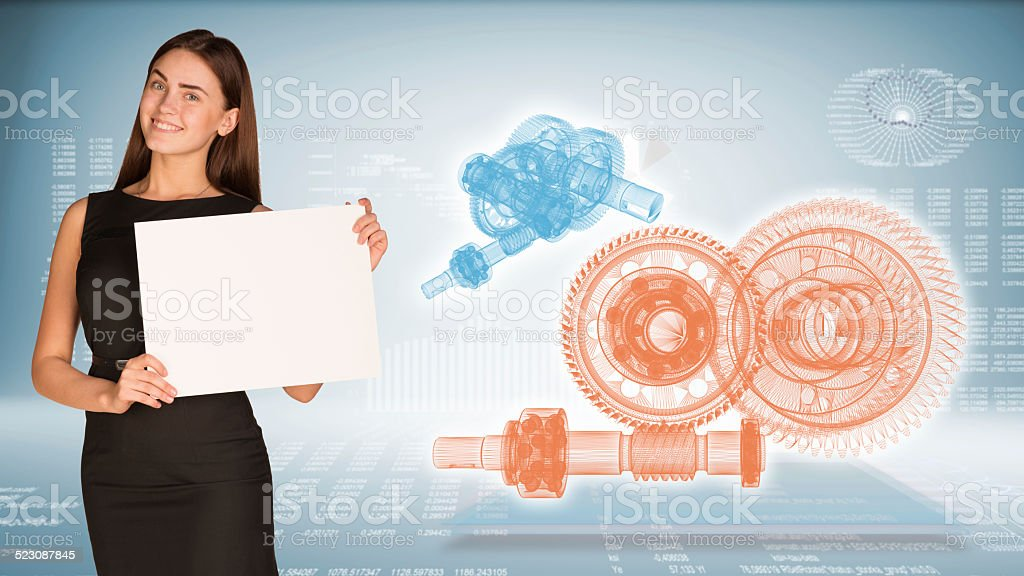 Businesswoman hold paper sheet. Wire-frame reduction gears on transparent stock photo