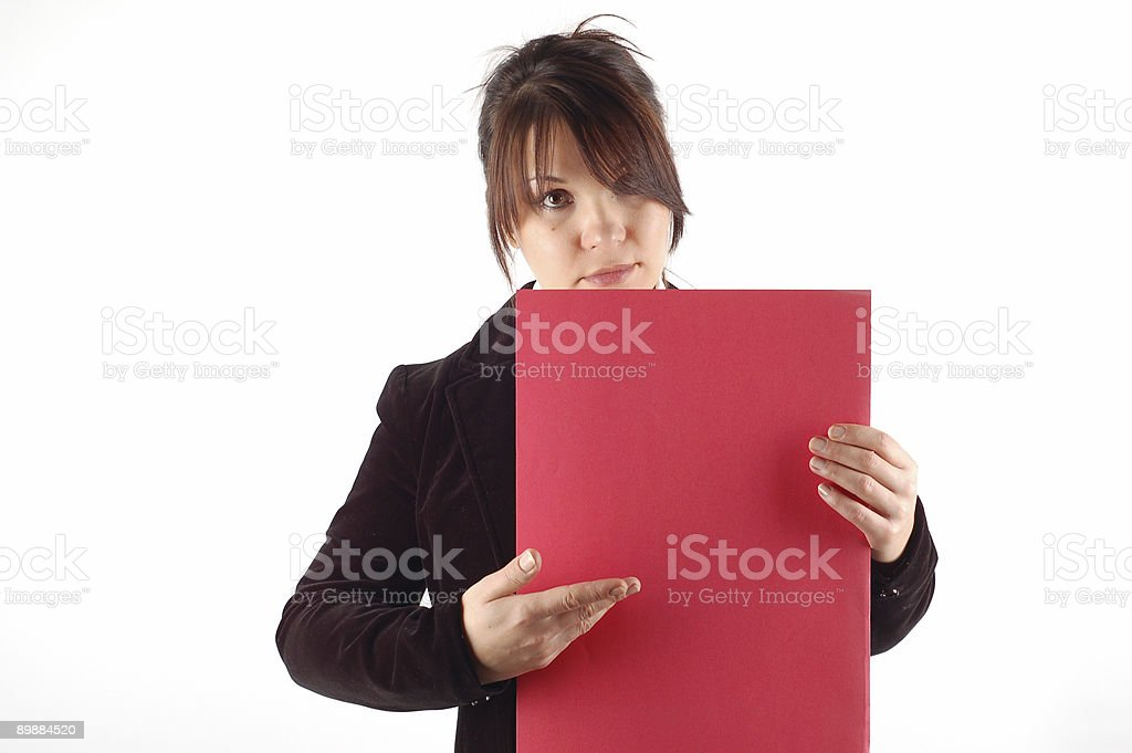 Geschäftsfrau hält einen banner#8 Lizenzfreies stock-foto