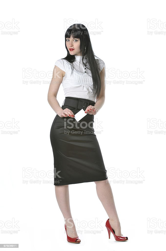 Businesswoman holding a blank business card royalty-free stock photo