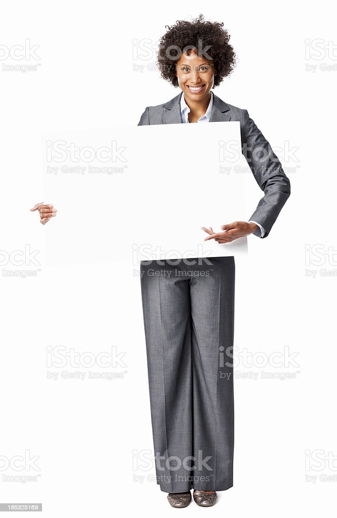 Businesswoman Holding a Blank Sign royalty-free stock photo