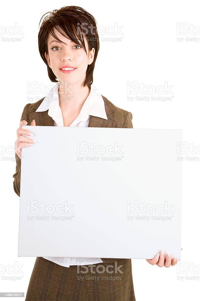 Businesswoman Holding a Blank White Sign royalty-free stock photo