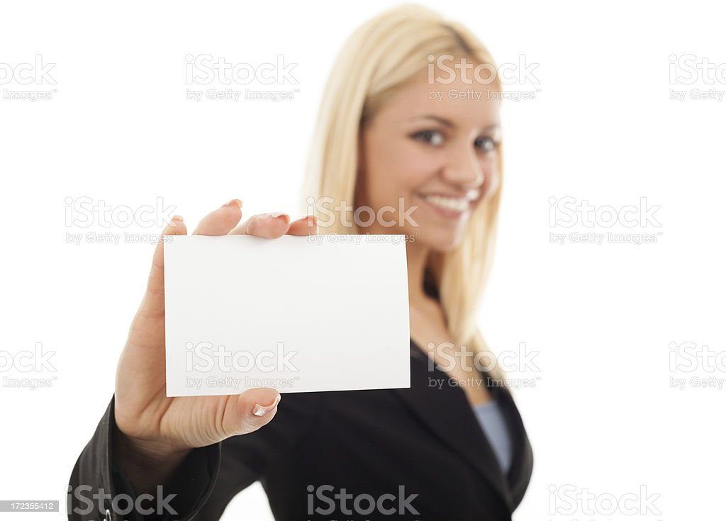 Businesswoman holding a business card royalty-free stock photo