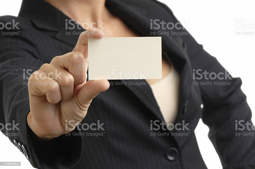Businesswoman Holding Blank Business Card Isolated on White Background royalty-free stock photo