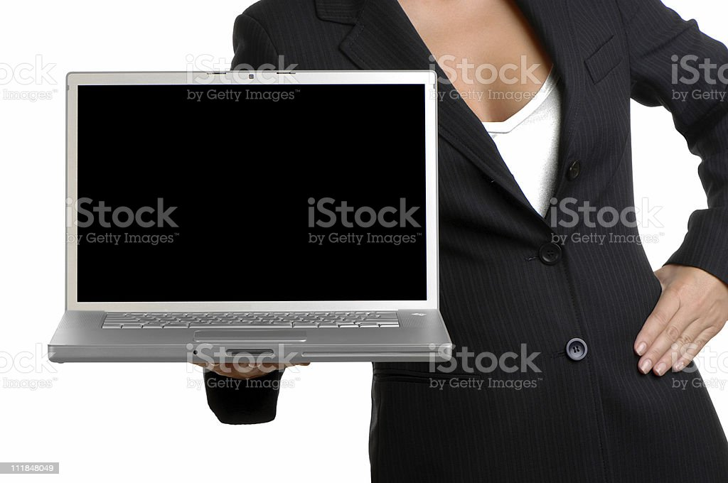 Businesswoman Holding Blank Laptop Computer Isolated on White Background royalty-free stock photo