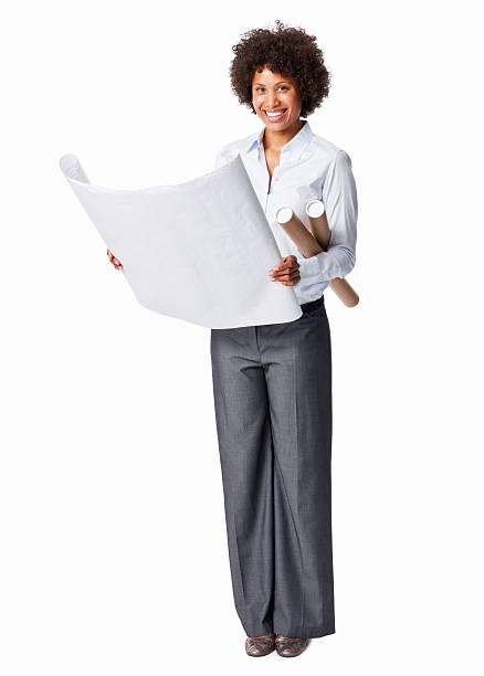 businesswoman holding blueprints - arquitecta fotografías e imágenes de stock