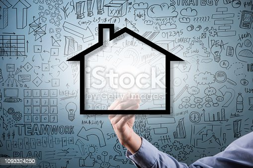 Businesswoman holding bulb behind the house with charts and diagrams on the blue background (Click for more)