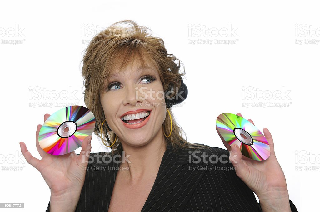 Businesswoman holding CDs royalty-free stock photo