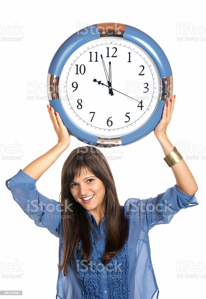 businesswoman holding clock royalty free stockfoto
