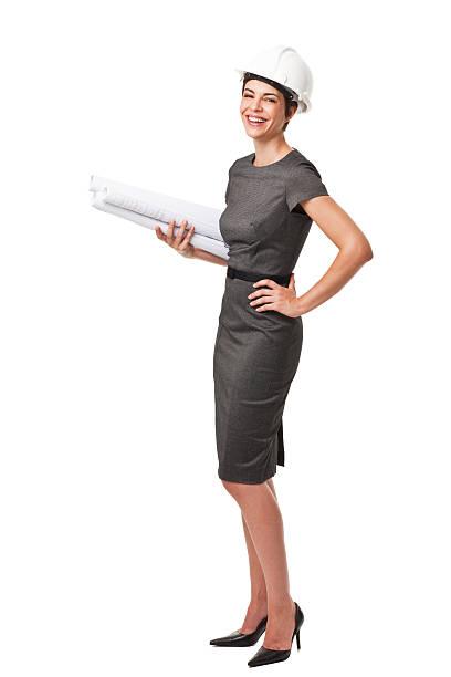 businesswoman holding planes de construcción aislado sobre blanco - arquitecta fotografías e imágenes de stock