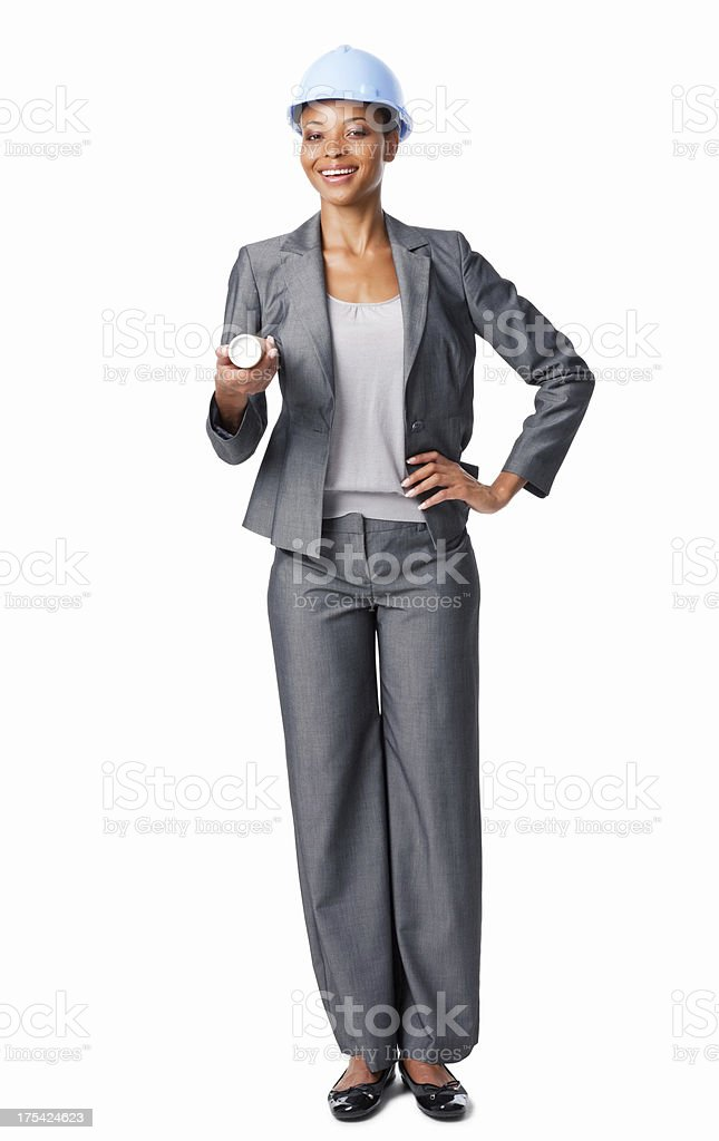 Businesswoman Holding Construction Plans - Isolated royalty-free stock photo