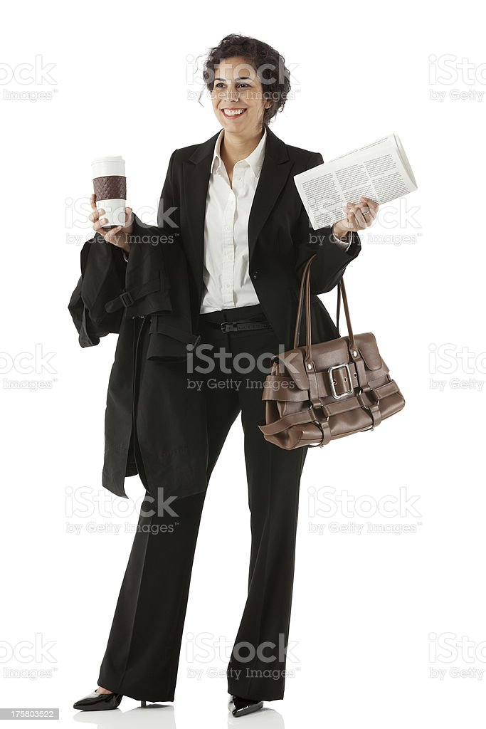 Businesswoman holding disposable cup royalty-free stock photo