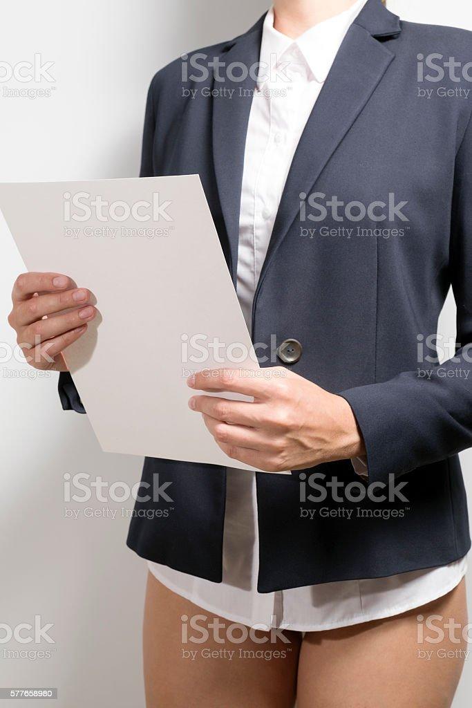 Businesswoman holding document stock photo