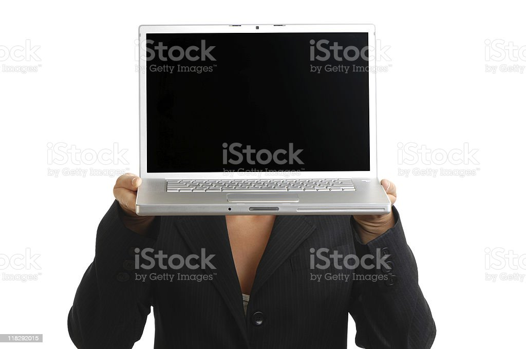 Businesswoman holding Laptop in front of face royalty-free stock photo