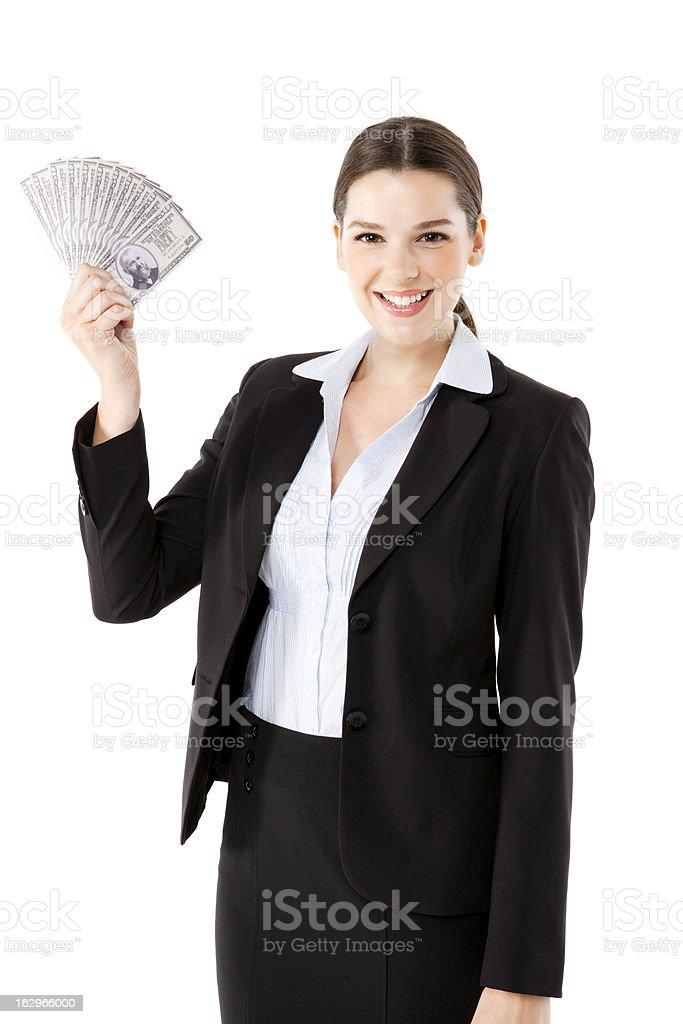 Businesswoman holding money royalty-free stock photo