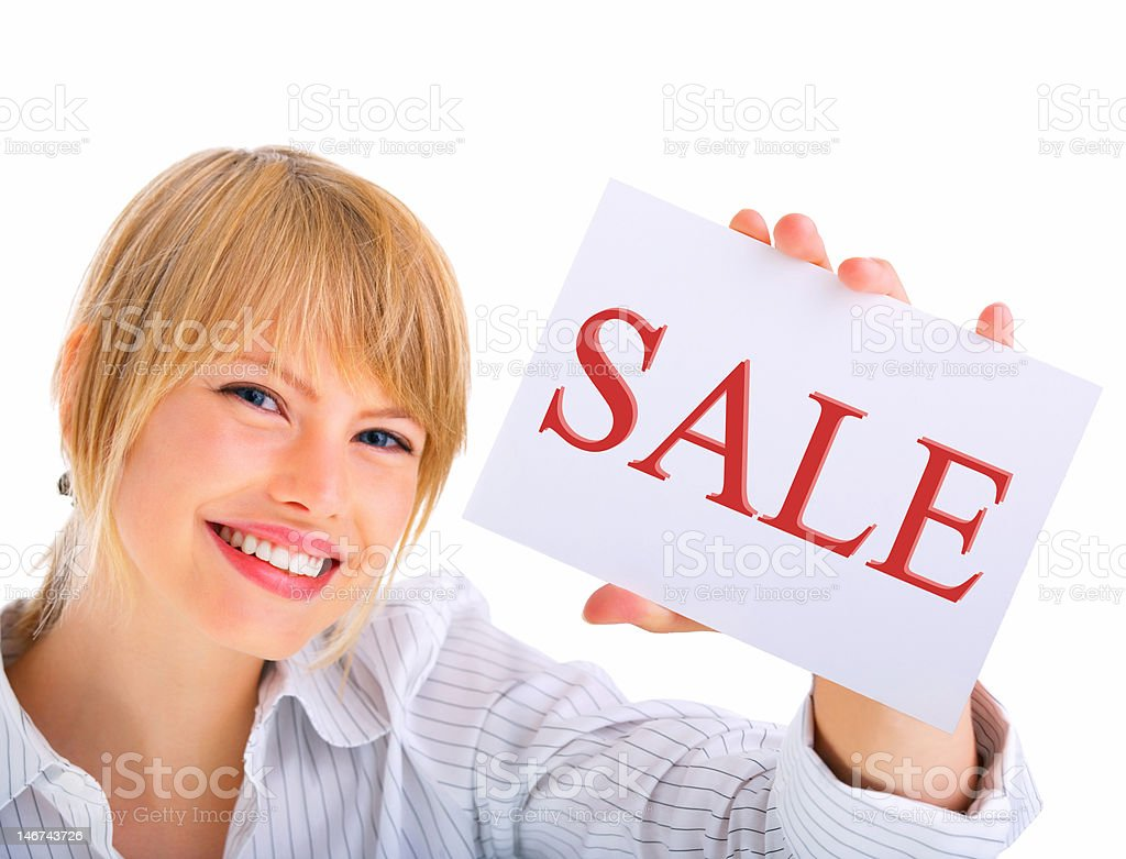 Businesswoman holding sale card royalty-free stock photo