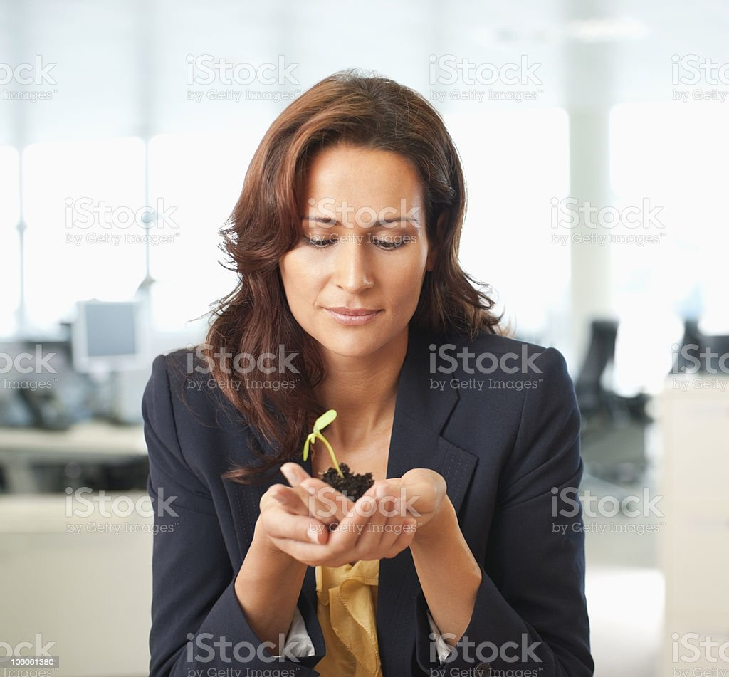 Businesswoman holding seedling royalty-free stock photo