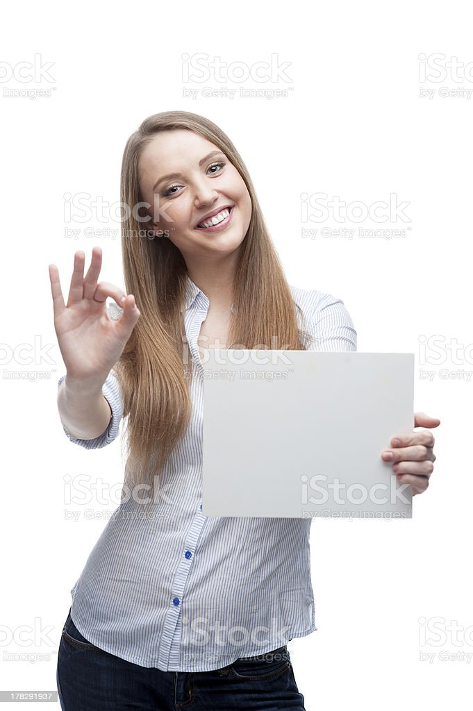 businesswoman holding sign royalty-free stock photo
