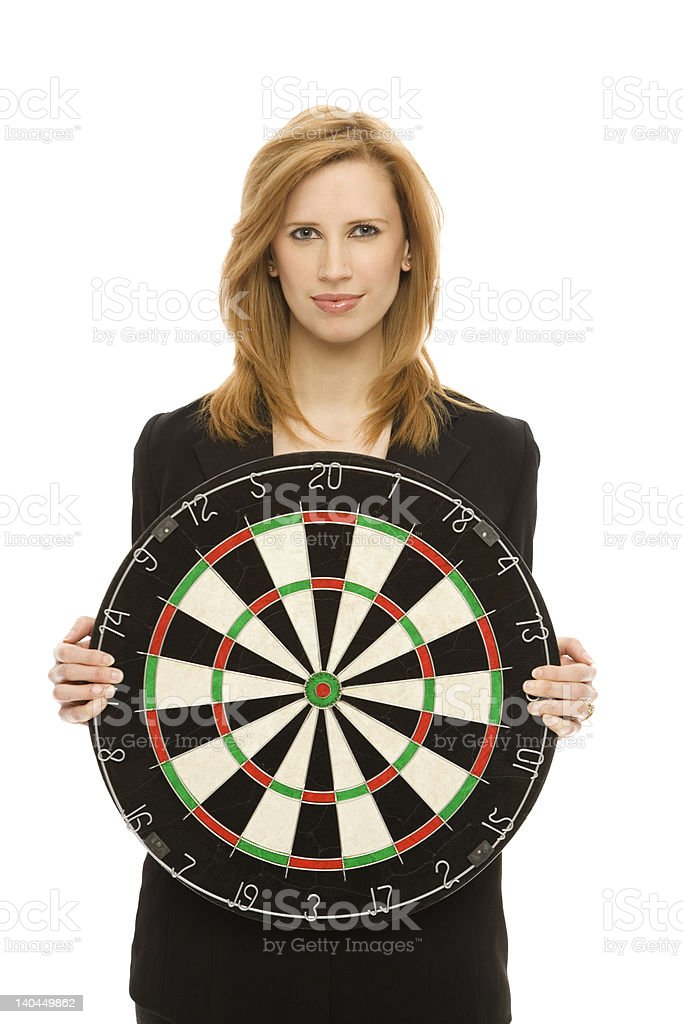 Businesswoman holds a target royalty-free stock photo